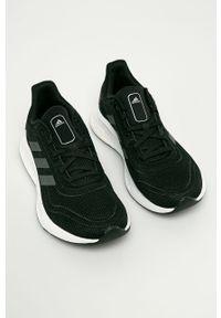 Czarne buty sportowe adidas Performance z okrągłym noskiem, na sznurówki