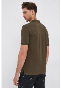 Hugo - HUGO - T-shirt/polo 50447938. Typ kołnierza: polo. Kolor: zielony. Materiał: bawełna, dzianina. Długość: krótkie. Wzór: gładki