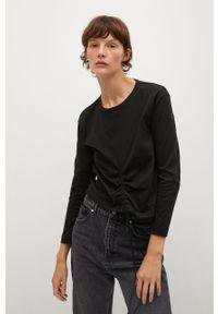 Czarna bluzka z długim rękawem mango casualowa, na co dzień