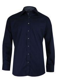 Niebieska elegancka koszula Chiao do pracy, z długim rękawem