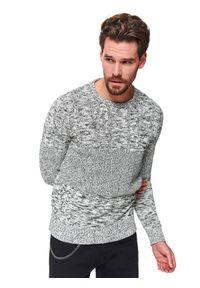 Szary sweter TOP SECRET z aplikacjami, z klasycznym kołnierzykiem, klasyczny