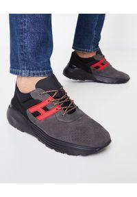Hogan - HOGAN - Lekkie sneakersy Active One. Okazja: na co dzień. Nosek buta: okrągły. Kolor: szary. Materiał: tkanina, zamsz, materiał. Wzór: aplikacja