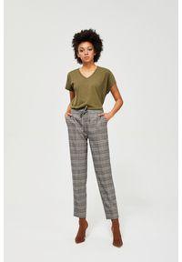 MOODO - Spodnie na kant w kratę. Materiał: poliester, wiskoza, guma, elastan. Długość: długie. Wzór: kratka