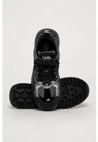Czarne buty sportowe Karl Lagerfeld z okrągłym noskiem, z cholewką, na sznurówki