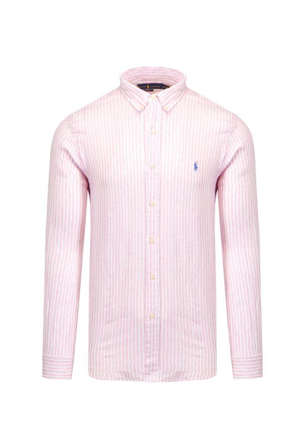 Polo Ralph Lauren - Koszula POLO RALPH LAUREN SLBDPPCS. Typ kołnierza: polo. Kolor: różowy. Materiał: len. Długość rękawa: długi rękaw. Wzór: paski. Styl: sportowy
