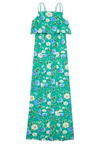 Zielona sukienka MOODO maxi, w kwiaty, na co dzień, z odkrytymi ramionami