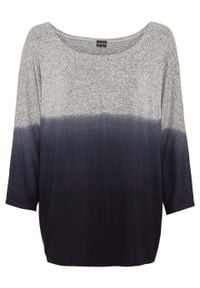 Shirt oversize w cieniowanym kolorze bonprix szaro-czarny melanż. Kolor: szary. Wzór: melanż