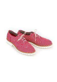 Czerwone półbuty Zapato z kwadratowym noskiem, na sznurówki, w kolorowe wzory