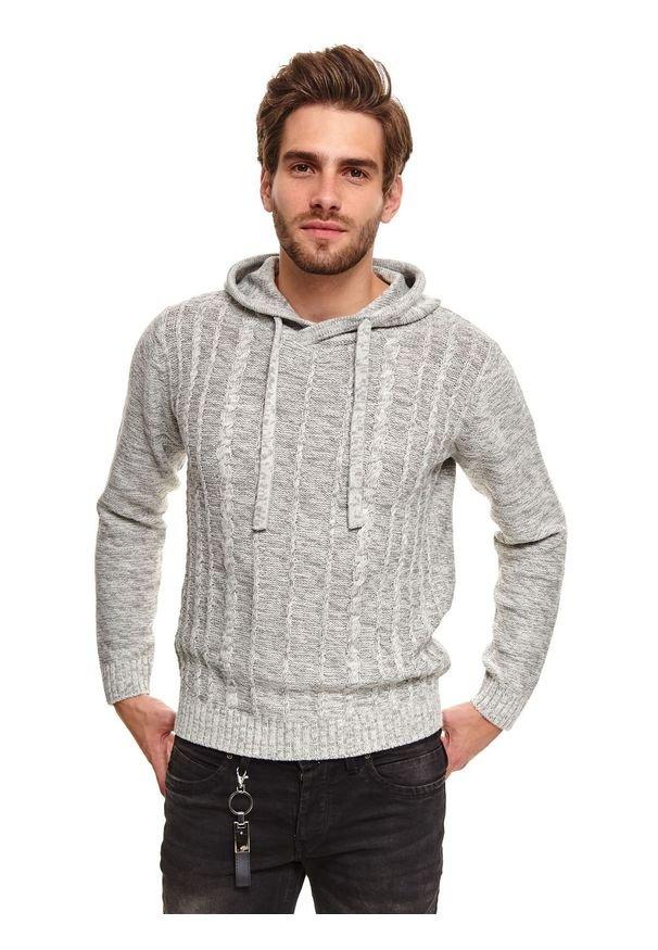 TOP SECRET - Sweter z kapturem. Typ kołnierza: kaptur. Kolor: szary. Materiał: bawełna, materiał. Długość: długie. Sezon: zima