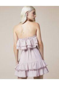 CHARO RUIZ IBIZA - Sukienka z odkrytymi ramionami Salma. Kolor: beżowy. Materiał: koronka. Wzór: aplikacja, ażurowy, koronka. Sezon: lato. Typ sukienki: z odkrytymi ramionami