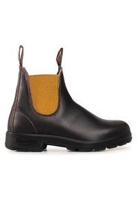 Brązowe buty zimowe Blundstone z cholewką, na obcasie, na średnim obcasie
