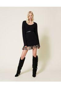 TwinSet - Czarna sukienka z mieszanki wełny i halka w kwiaty Twinset. Kolor: czarny. Materiał: wełna. Długość rękawa: na ramiączkach. Wzór: kwiaty. Długość: mini