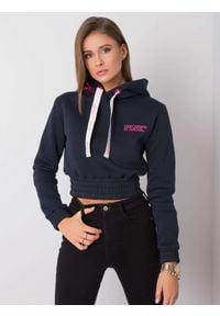 e-margeritka - Bluza damska krótka ciepła z kapturem - 40. Typ kołnierza: kaptur. Materiał: poliester, dzianina, materiał, bawełna. Długość: krótkie
