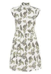 Biała sukienka bonprix koszulowa, na lato, z nadrukiem