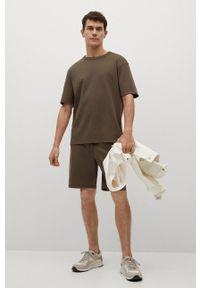 Mango Man - T-shirt Fede. Kolor: brązowy. Materiał: dzianina