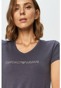 Fioletowa bluzka Emporio Armani na co dzień, z aplikacjami, casualowa