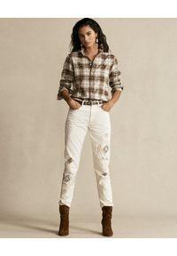 Ralph Lauren - RALPH LAUREN - Beżowe spodnie z aplikacją. Kolor: beżowy. Materiał: bawełna. Wzór: aplikacja #2