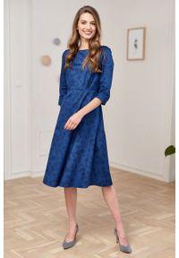 Marie Zélie - Sukienka Aerin Tarsia granatowa. Kolor: niebieski. Materiał: bawełna, satyna, skóra, materiał. Typ sukienki: trapezowe
