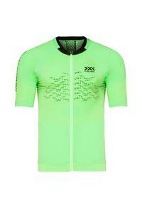 Zielona koszulka termoaktywna X-Bionic z asymetrycznym kołnierzem, z krótkim rękawem, rowerowa