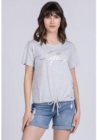Szary t-shirt Monnari na lato, z krótkim rękawem, z napisami