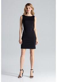 Figl - Czarna Modna Ołówkowa Sukienka Bez Rękawów. Kolor: czarny. Materiał: poliester, wiskoza, lycra. Długość rękawa: bez rękawów. Typ sukienki: ołówkowe