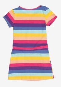 Born2be - Fioletowa Sukienka Thalusei. Kolor: fioletowy. Materiał: bawełna, dzianina. Długość rękawa: krótki rękaw. Wzór: aplikacja, paski, nadruk. Sezon: lato. Typ sukienki: trapezowe. Długość: midi #2