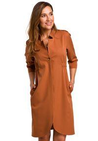 Style - Elegancka sukienka o żakietowym kroju. Typ kołnierza: kołnierzyk stójkowy. Materiał: elastan, materiał. Styl: elegancki. Długość: mini