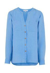 Cellbes Lniana koszula z drewnianymi guzikami niebieski female niebieski 54/56. Typ kołnierza: dekolt w serek, kołnierzyk stójkowy. Kolor: niebieski. Materiał: len. Długość rękawa: długi rękaw. Długość: długie. Styl: elegancki