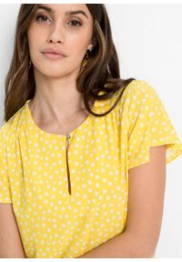 Żółta bluzka bonprix krótka, z nadrukiem, z krótkim rękawem