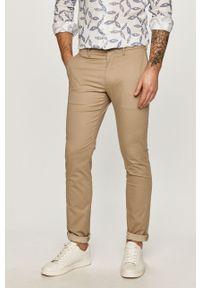 Beżowe spodnie TOMMY HILFIGER gładkie, casualowe, na co dzień