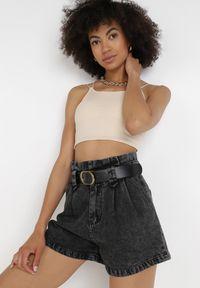 Born2be - Czarne Szorty Jenielena. Stan: podwyższony. Kolor: czarny. Materiał: jeans, futro. Styl: sportowy