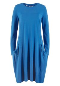 Sukienka oversize z kieszeniami, poszerzana dołem bonprix lazurowy. Kolor: niebieski. Długość rękawa: długi rękaw. Typ sukienki: oversize