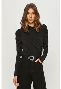 Czarna bluzka Vero Moda ze stójką, casualowa, na co dzień, z długim rękawem