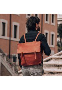 MARCO MAZZINI - Plecak unisex brąz Marco Mazzini v115b. Kolor: brązowy. Materiał: skóra. Styl: elegancki