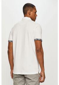 Biała koszulka polo PRODUKT by Jack & Jones na co dzień, krótka, z nadrukiem, polo