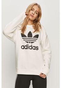 Biała bluza adidas Originals długa, na co dzień