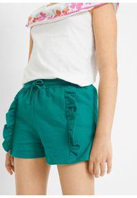 Szorty dziewczęce dresowe z falbanami bonprix ciemnoszmaragdowy. Kolor: zielony. Materiał: dresówka