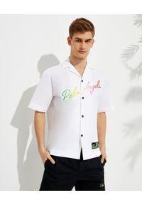 PALM ANGELS - Biała koszula z kolorowym logo. Kolor: biały. Materiał: bawełna. Wzór: kolorowy