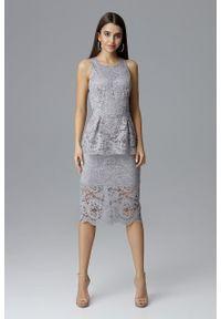 e-margeritka - Koronkowa ołówkowa sukienka bez rękawów szara - xl. Okazja: na sylwestra, na wesele, na ślub cywilny, na imprezę. Kolor: szary. Materiał: koronka. Długość rękawa: bez rękawów. Wzór: koronka, aplikacja. Typ sukienki: ołówkowe. Styl: elegancki