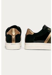 Czarne buty sportowe GANT z okrągłym noskiem, na obcasie, na sznurówki, na średnim obcasie