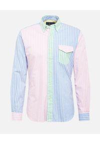 Ralph Lauren - RALPH LAUREN - Kolorowa koszula w paski Oxford. Typ kołnierza: polo. Kolor: niebieski. Materiał: bawełna. Długość rękawa: długi rękaw. Długość: długie. Wzór: paski, kolorowy