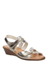 Srebrne sandały Oh My Sandals w kolorowe wzory, na lato, eleganckie