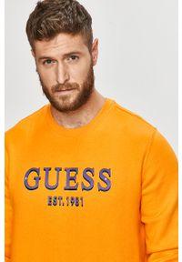 Pomarańczowa bluza nierozpinana Guess Jeans bez kaptura, casualowa, z nadrukiem, na co dzień