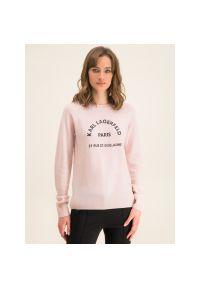 Różowy sweter Karl Lagerfeld z dekoltem karo