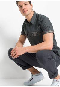 Koszula z krótkim rękawem z wstawkami w deseń moro, Slim Fit bonprix antracytowy z nadrukiem. Kolor: szary. Długość rękawa: krótki rękaw. Długość: krótkie. Wzór: moro, nadruk