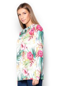 Biała bluzka z długim rękawem Katrus ze stójką, w kwiaty