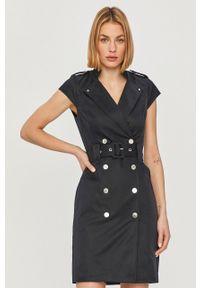 Niebieska sukienka Morgan bez rękawów, mini, na spotkanie biznesowe, biznesowa