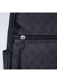 Wittchen - Damski plecak z żakardu z monogramem i skóry. Kolor: czarny. Materiał: żakard. Styl: biznesowy, casual