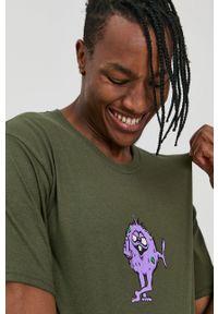 HUF - T-shirt bawełniany. Okazja: na co dzień. Kolor: zielony. Materiał: bawełna. Wzór: nadruk. Styl: casual