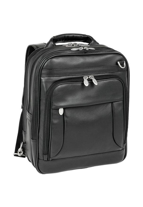 MCKLEIN - Skórzany plecak z odpinanymi ramionami, torba na laptopa Mcklein Lincoln Park 41655. Kolor: czarny. Materiał: skóra. Styl: klasyczny, elegancki, biznesowy